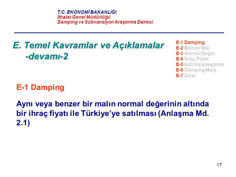 17 E. Temel Kavramlar ve Açıklamalar -devamı-2 E-1 Damping Aynı veya benzer bir malın normal değerinin altında bir ihraç fiyatı ile Türkiye'ye satılma
