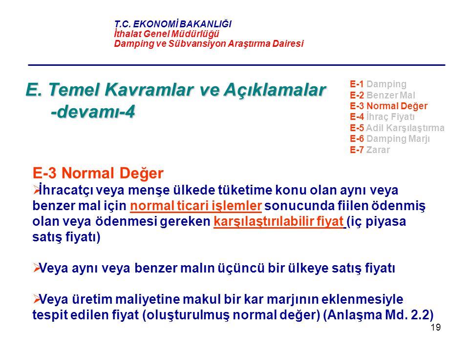19 E. Temel Kavramlar ve Açıklamalar -devamı-4 E-3 Normal Değer  İhracatçı veya menşe ülkede tüketime konu olan aynı veya benzer mal için normal tica