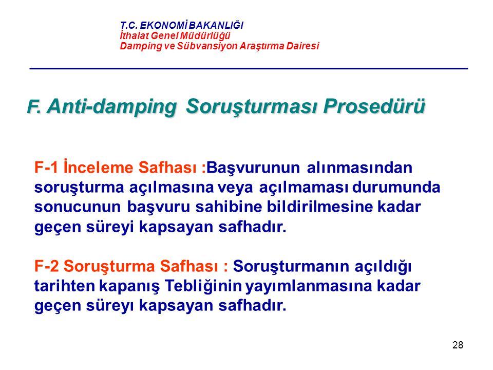 28 F. Anti-damping Soruşturması Prosedürü F-1 İnceleme Safhası :Başvurunun alınmasından soruşturma açılmasına veya açılmaması durumunda sonucunun başv