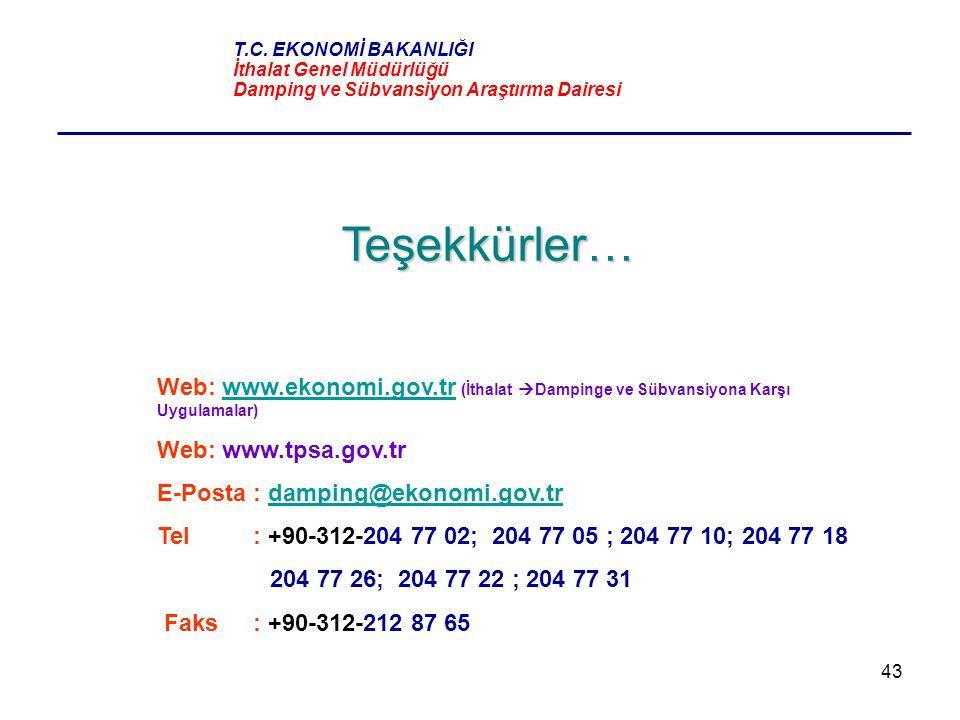 43 Teşekkürler… Web: www.ekonomi.gov.tr (İthalat  Dampinge ve Sübvansiyona Karşı Uygulamalar)www.ekonomi.gov.tr Web: www.tpsa.gov.tr E-Posta : dampin