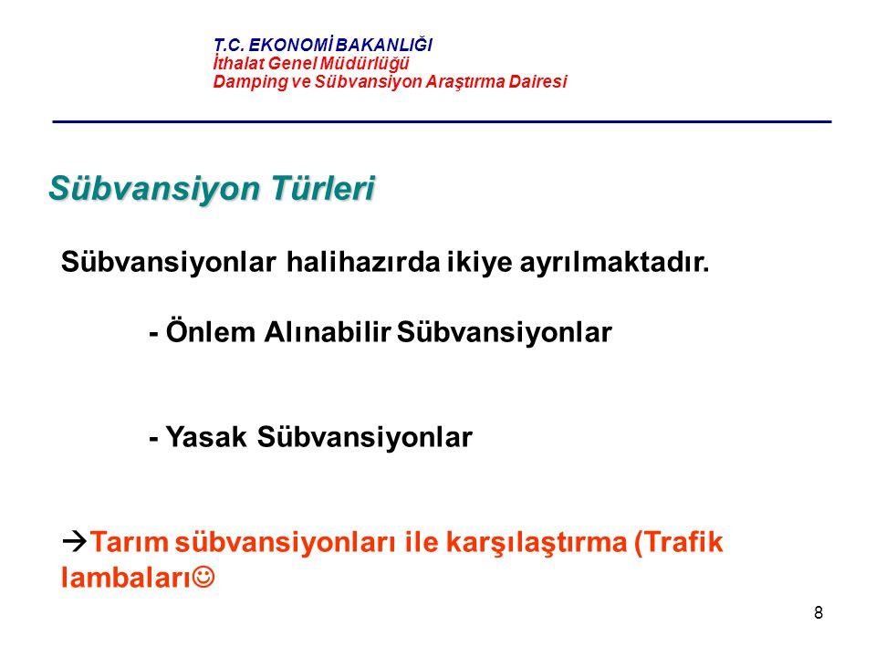 8 Sübvansiyon Türleri Sübvansiyonlar halihazırda ikiye ayrılmaktadır. - Önlem Alınabilir Sübvansiyonlar - Yasak Sübvansiyonlar  Tarım sübvansiyonları