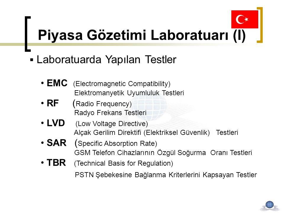 Piyasa Gözetimi Laboratuarı (I)  Laboratuarda Yapılan Testler EMC (Electromagnetic Compatibility) Elektromanyetik Uyumluluk Testleri RF ( Radio Frequ