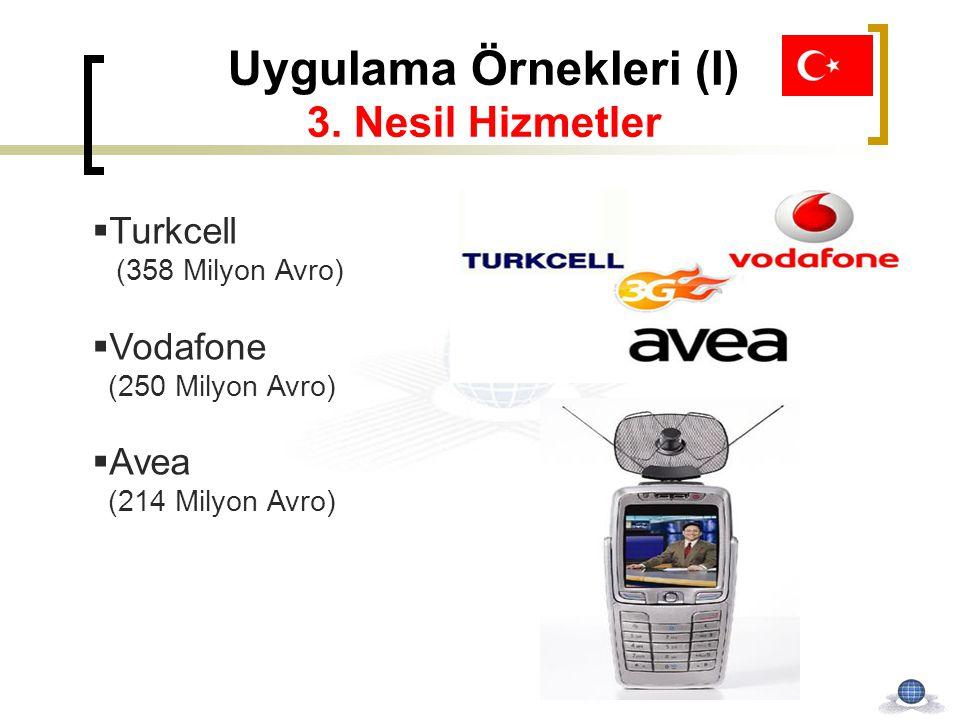Uygulama Örnekleri (I) 3. Nesil Hizmetler  Turkcell (358 Milyon Avro)  Vodafone (250 Milyon Avro)  Avea (214 Milyon Avro)