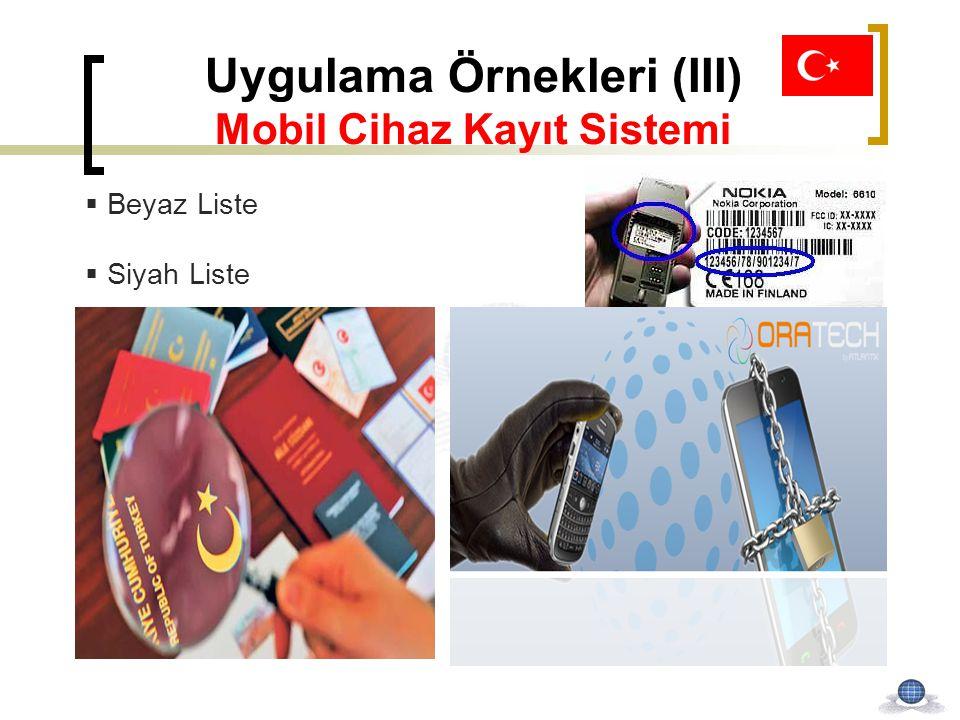 Uygulama Örnekleri (III) Mobil Cihaz Kayıt Sistemi  Beyaz Liste  Siyah Liste