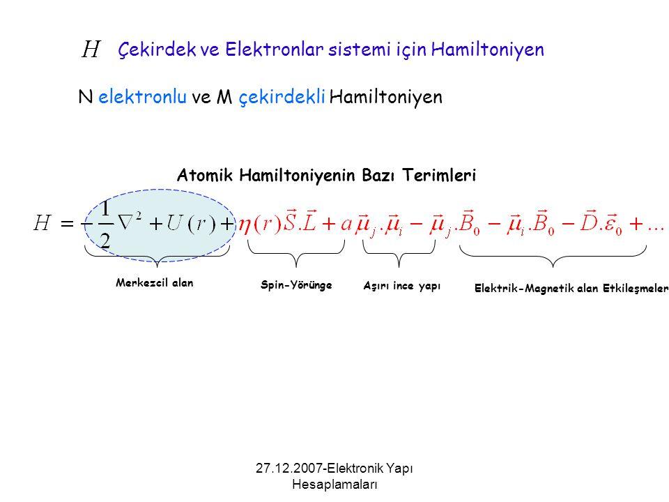 Çekirdek ve Elektronlar sistemi için Hamiltoniyen N elektronlu ve M çekirdekli Hamiltoniyen Atomik Hamiltoniyenin Bazı Terimleri Merkezcil alan Spin-Y