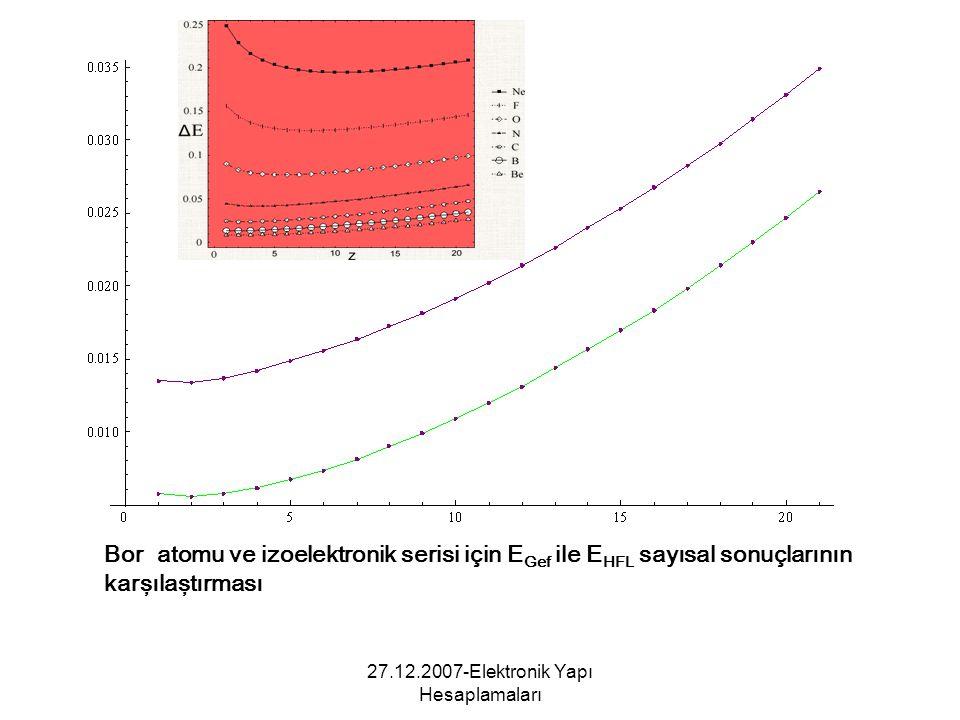 27.12.2007-Elektronik Yapı Hesaplamaları Bor atomu ve izoelektronik serisi için E Gef ile E HFL sayısal sonuçlarının karşılaştırması