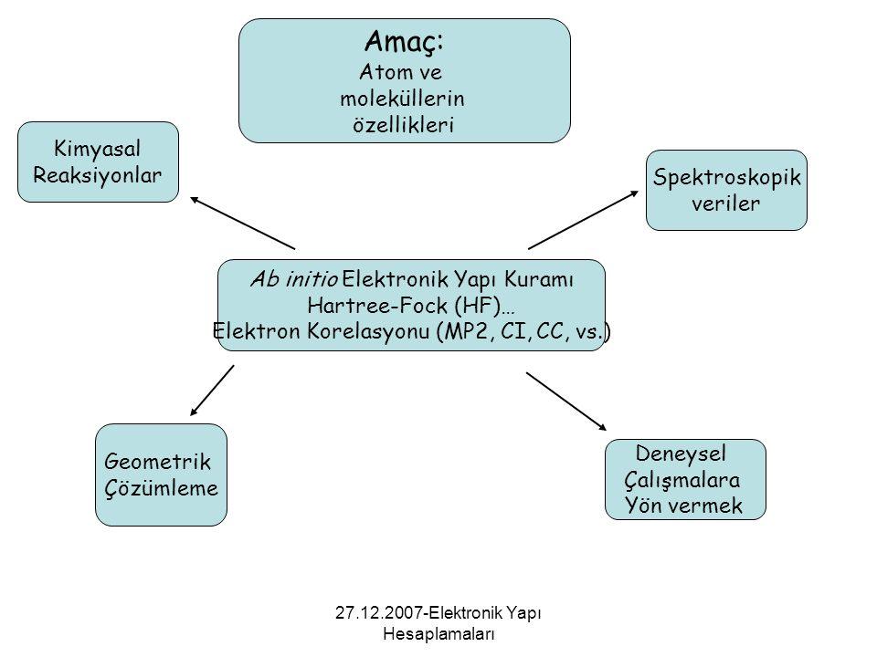27.12.2007-Elektronik Yapı Hesaplamaları Ab initio Elektronik Yapı Kuramı Hartree-Fock (HF)… Elektron Korelasyonu (MP2, CI, CC, vs.) Amaç: Atom ve mol