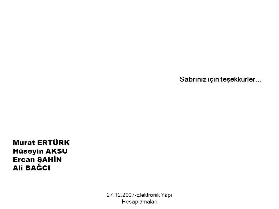 27.12.2007-Elektronik Yapı Hesaplamaları Sabrınız için teşekkürler… Murat ERTÜRK Hüseyin AKSU Ercan ŞAHİN Ali BAĞCI