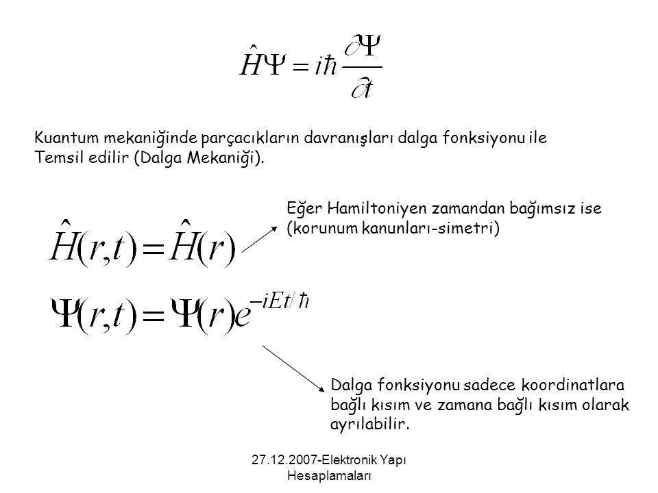 27.12.2007-Elektronik Yapı Hesaplamaları Kuantum mekaniğinde parçacıkların davranışları dalga fonksiyonu ile Temsil edilir (Dalga Mekaniği). Eğer Hami