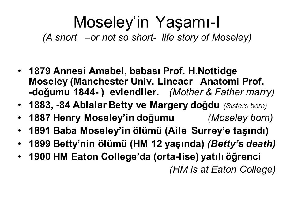 Moseley'in Yaşamı-I (A short –or not so short- life story of Moseley) 1879 Annesi Amabel, babası Prof. H.Nottidge Moseley (Manchester Univ. Lineacr An