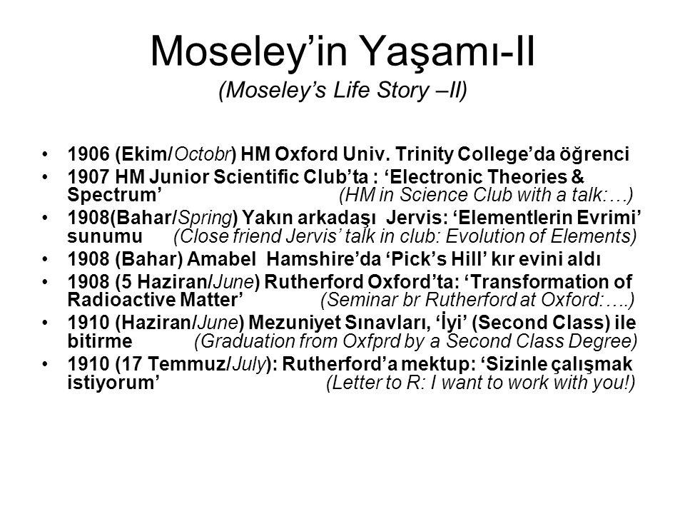 Moseley'in Yaşamı-II (Moseley's Life Story –II) 1906 (Ekim/Octobr) HM Oxford Univ. Trinity College'da öğrenci 1907 HM Junior Scientific Club'ta : 'Ele
