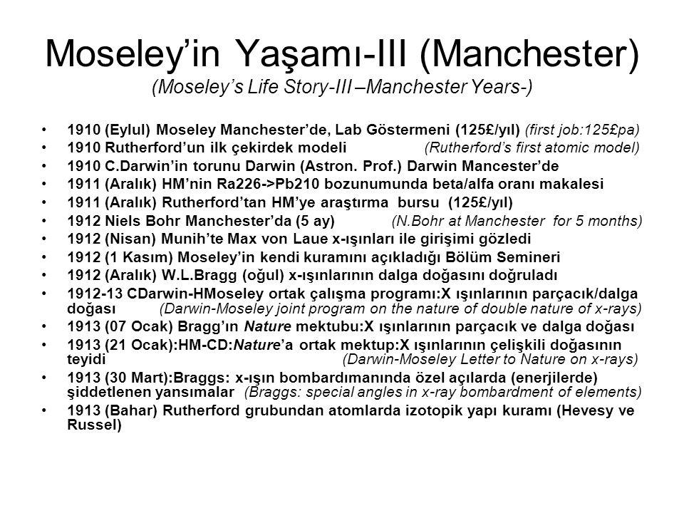 Moseley'in Yaşamı-III (Manchester) (Moseley's Life Story-III –Manchester Years-) 1910 (Eylul) Moseley Manchester'de, Lab Göstermeni (125£/yıl) (first