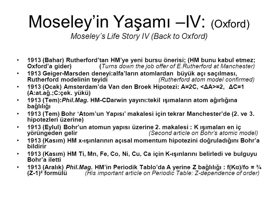 Moseley'in Yaşamı –IV: (Oxford) Moseley's Life Story IV (Back to Oxford) 1913 (Bahar) Rutherford'tan HM'ye yeni bursu önerisi; (HM bunu kabul etmez; O