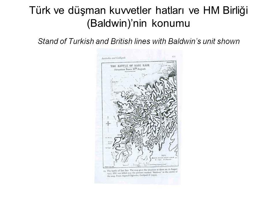 Türk ve düşman kuvvetler hatları ve HM Birliği (Baldwin)'nin konumu Stand of Turkish and British lines with Baldwin's unit shown