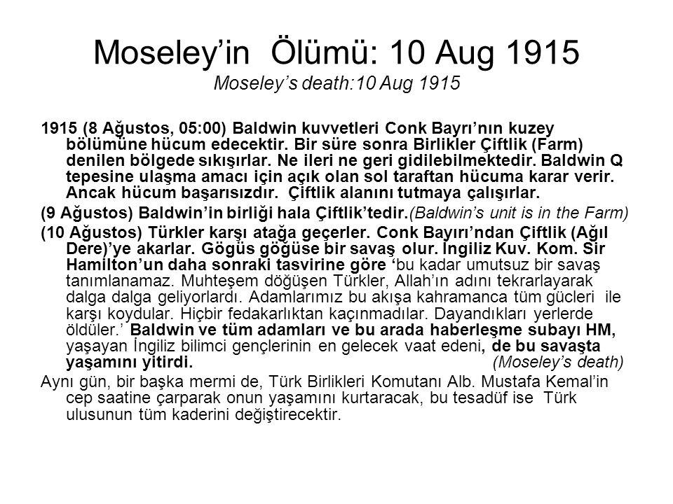 Moseley'in Ölümü: 10 Aug 1915 Moseley's death:10 Aug 1915 1915 (8 Ağustos, 05:00) Baldwin kuvvetleri Conk Bayrı'nın kuzey bölümüne hücum edecektir. Bi
