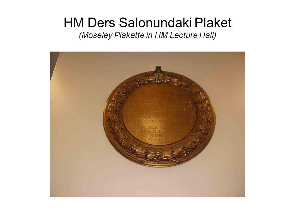 HM Ders Salonundaki Plaket (Moseley Plakette in HM Lecture Hall)