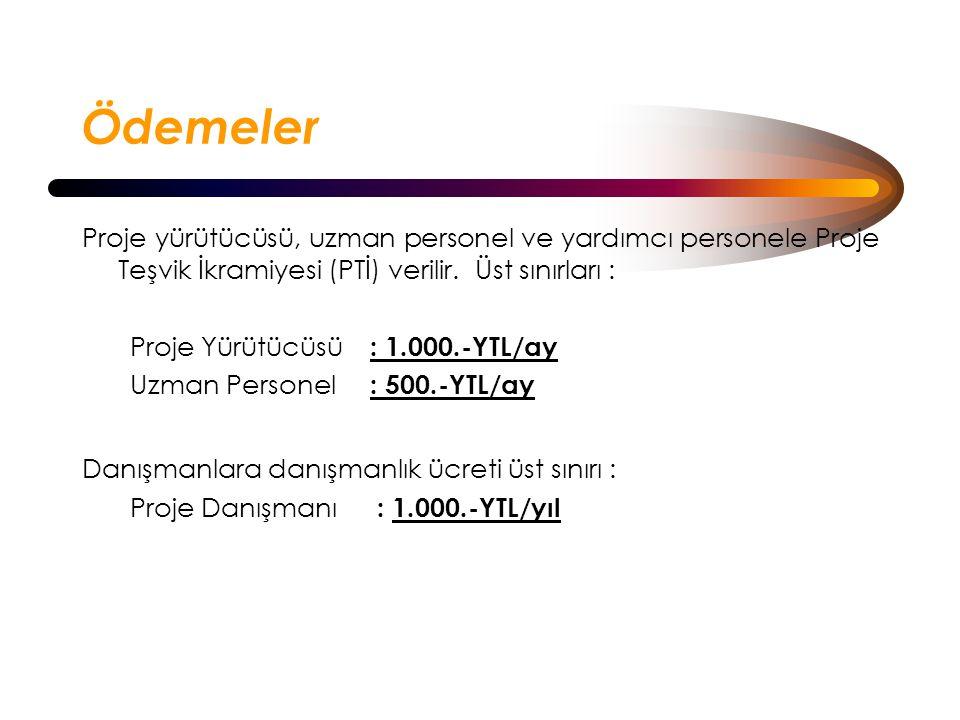 Ödemeler Proje yürütücüsü, uzman personel ve yardımcı personele Proje Teşvik İkramiyesi (PTİ) verilir.