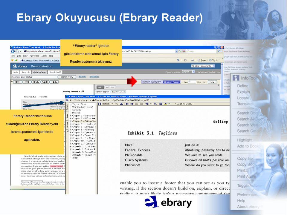 Ebrary Okuyucusu (Ebrary Reader) Ebrary reader içinden görüntüleme elde etmek için Ebrary Reader butonuna tıklayınız.