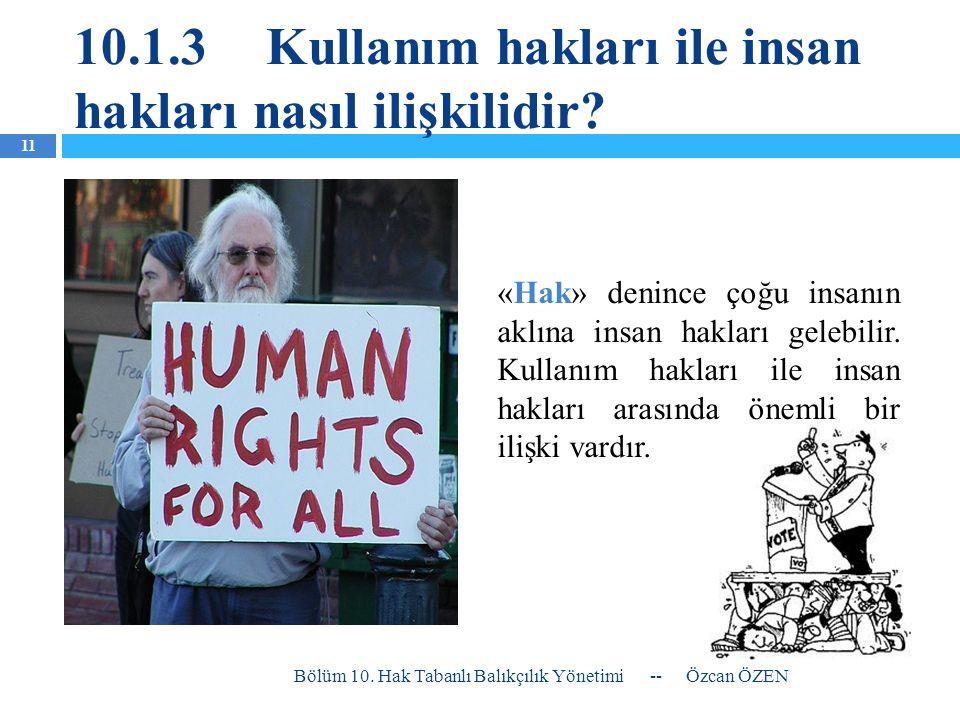 10.1.3Kullanım hakları ile insan hakları nasıl ilişkilidir? «Hak» denince çoğu insanın aklına insan hakları gelebilir. Kullanım hakları ile insan hakl