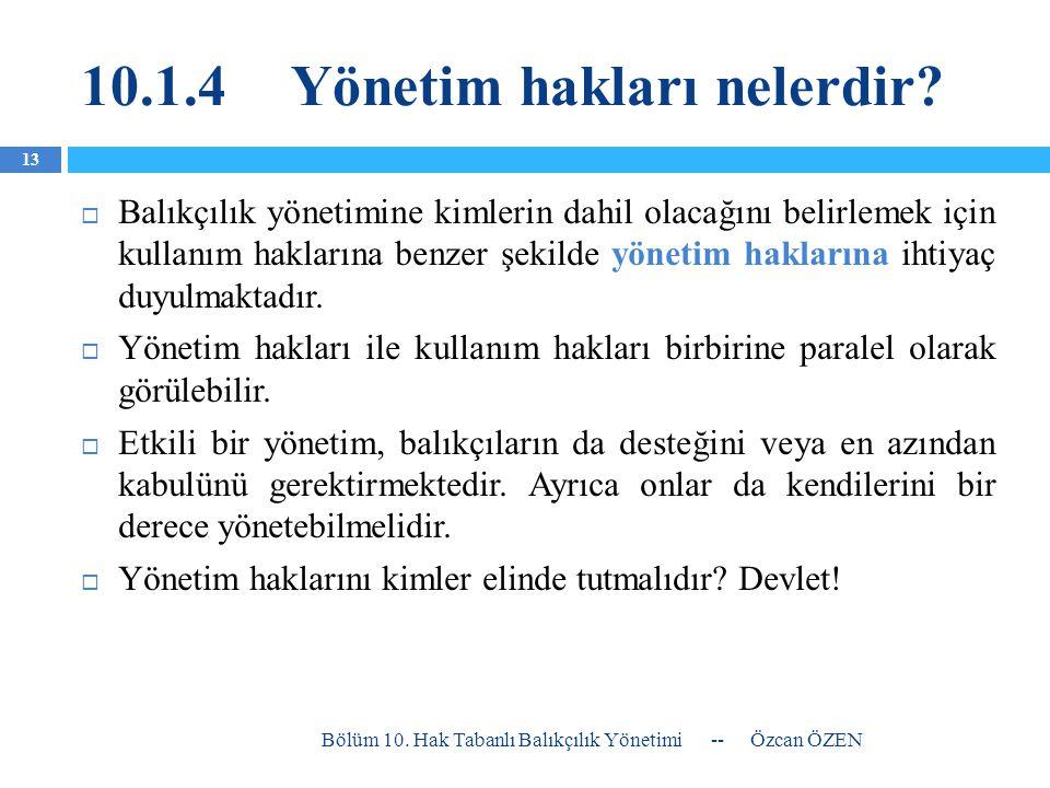 10.1.4Yönetim hakları nelerdir?  Balıkçılık yönetimine kimlerin dahil olacağını belirlemek için kullanım haklarına benzer şekilde yönetim haklarına i