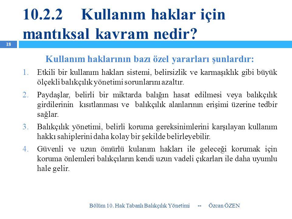 10.2.2Kullanım haklar için mantıksal kavram nedir? Kullanım haklarının bazı özel yararları şunlardır: 1.Etkili bir kullanım hakları sistemi, belirsizl