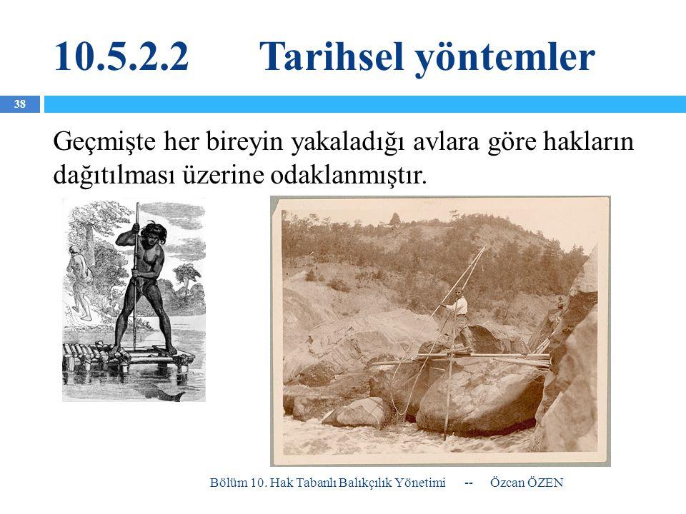 10.5.2.2Tarihsel yöntemler Geçmişte her bireyin yakaladığı avlara göre hakların dağıtılması üzerine odaklanmıştır. -- Özcan ÖZEN Bölüm 10. Hak Tabanlı