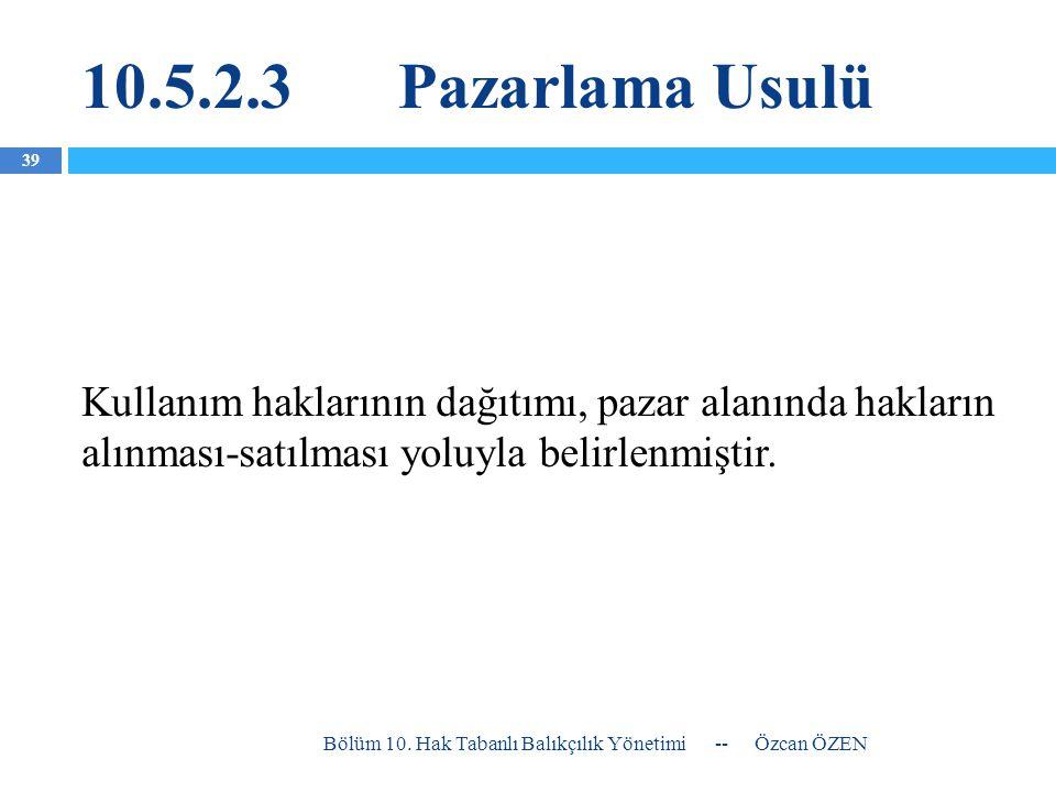 10.5.2.3Pazarlama Usulü Kullanım haklarının dağıtımı, pazar alanında hakların alınması-satılması yoluyla belirlenmiştir. -- Özcan ÖZEN Bölüm 10. Hak T