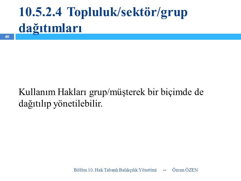 10.5.2.4Topluluk/sektör/grup dağıtımları Kullanım Hakları grup/müşterek bir biçimde de dağıtılıp yönetilebilir. -- Özcan ÖZEN Bölüm 10. Hak Tabanlı Ba