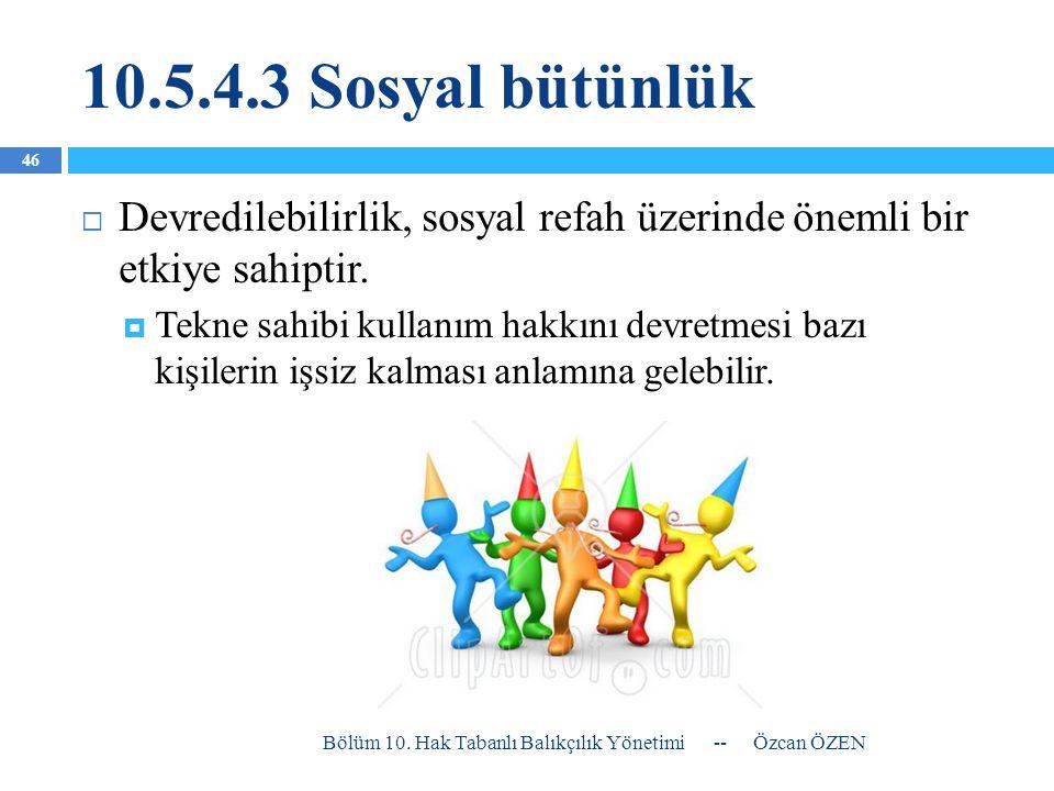 10.5.4.3 Sosyal bütünlük  Devredilebilirlik, sosyal refah üzerinde önemli bir etkiye sahiptir.  Tekne sahibi kullanım hakkını devretmesi bazı kişile