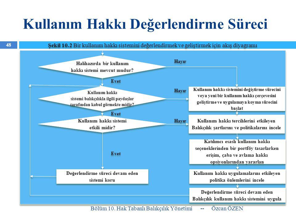 Kullanım Hakkı Değerlendirme Süreci -- Özcan ÖZEN Bölüm 10. Hak Tabanlı Balıkçılık Yönetimi 48 Şekil 10.2 Bir kullanım hakkı sistemini değerlendirmek