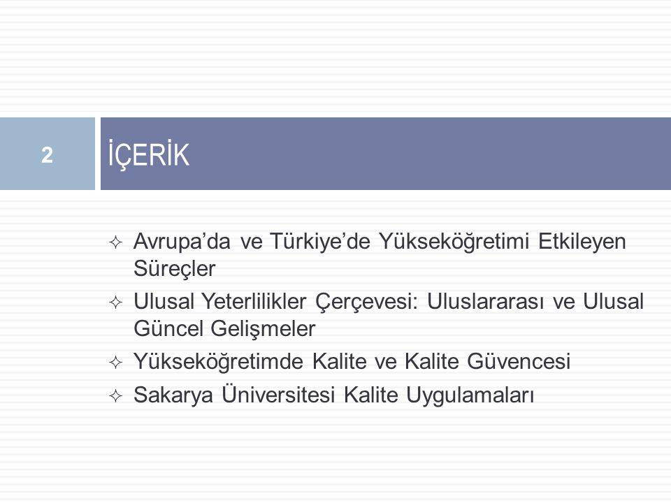  Avrupa'da ve Türkiye'de Yükseköğretimi Etkileyen Süreçler  Ulusal Yeterlilikler Çerçevesi: Uluslararası ve Ulusal Güncel Gelişmeler  Yükseköğretimde Kalite ve Kalite Güvencesi  Sakarya Üniversitesi Kalite Uygulamaları İÇERİK 2