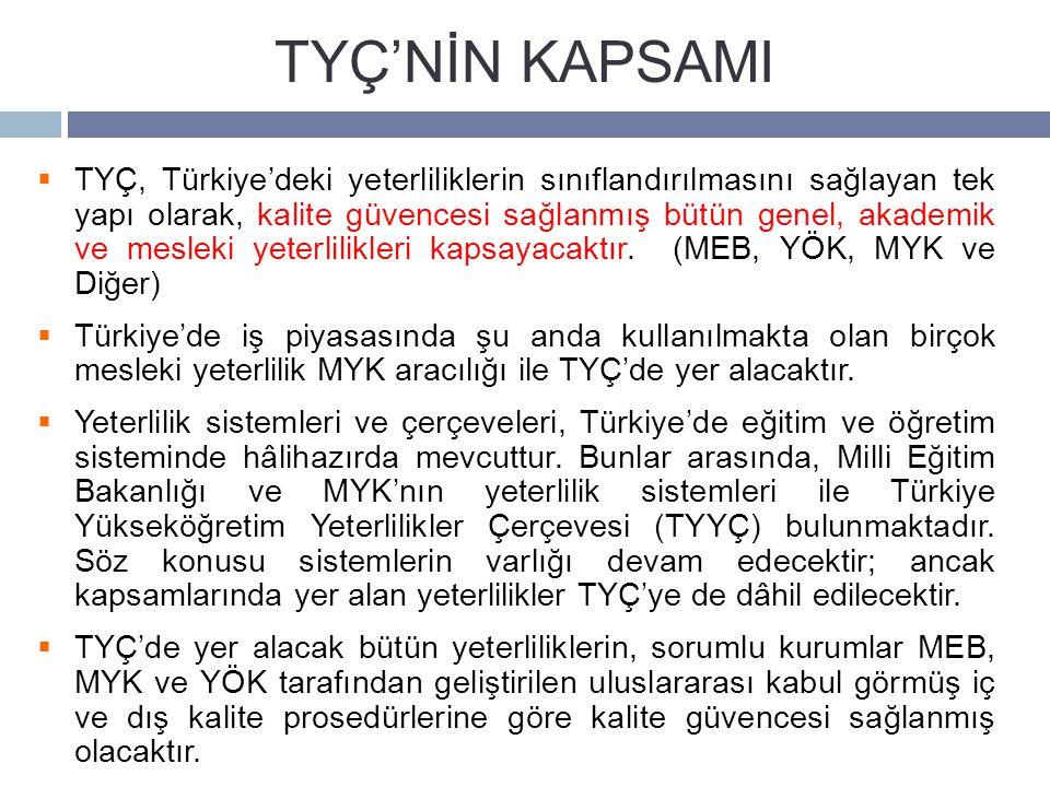  TYÇ, Türkiye'deki yeterliliklerin sınıflandırılmasını sağlayan tek yapı olarak, kalite güvencesi sağlanmış bütün genel, akademik ve mesleki yeterlilikleri kapsayacaktır.