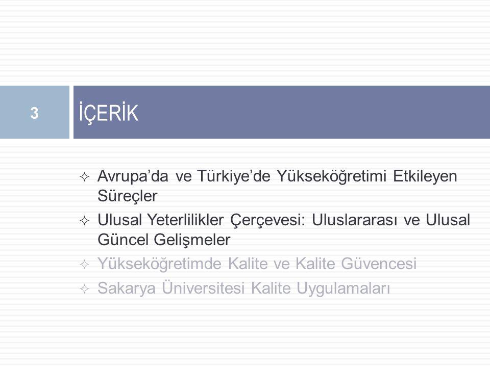  Avrupa'da ve Türkiye'de Yükseköğretimi Etkileyen Süreçler  Ulusal Yeterlilikler Çerçevesi: Uluslararası ve Ulusal Güncel Gelişmeler  Yükseköğretimde Kalite ve Kalite Güvencesi  Sakarya Üniversitesi Kalite Uygulamaları İÇERİK 3