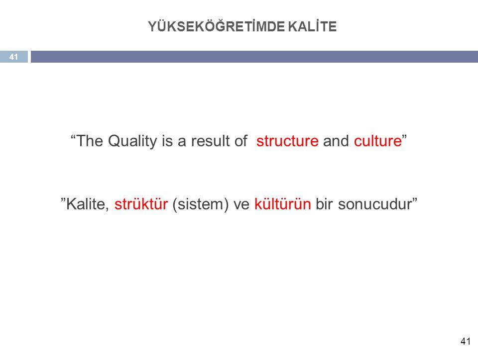 "41 ""The Quality is a result of structure and culture"" ""Kalite, strüktür (sistem) ve kültürün bir sonucudur"" YÜKSEKÖĞRETİMDE KALİTE"