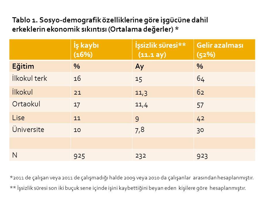 İş kaybı (16%) İşsizlik süresi** (11.1 ay) Gelir azalması (52%) Eğitim%Ay% İlkokul terk161564 İlkokul2111,362 Ortaokul1711,457 Lise11942 Üniversite107