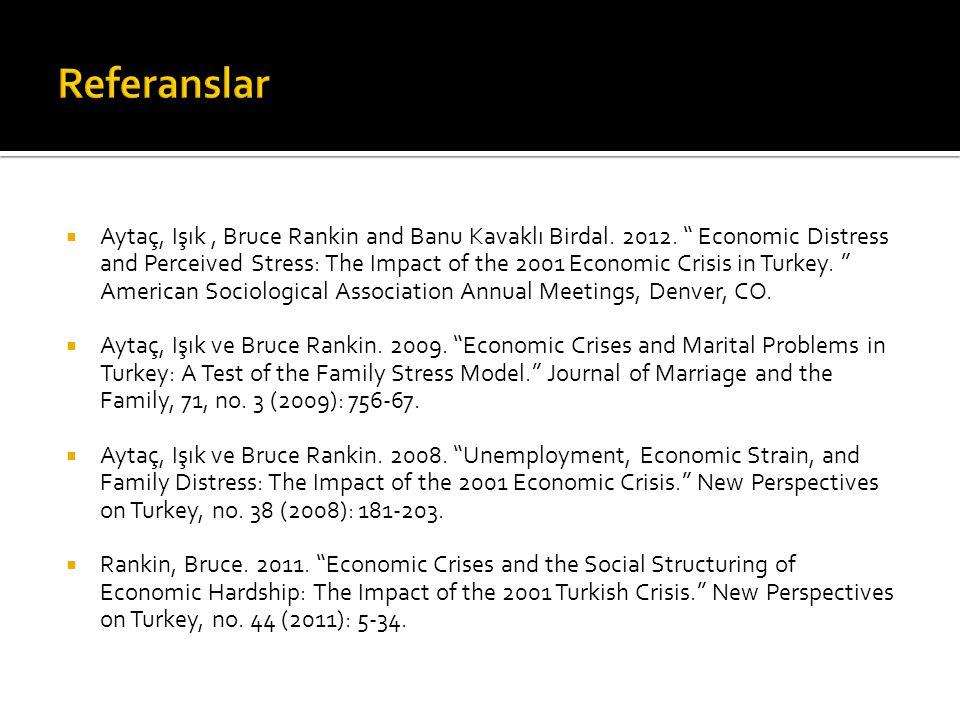 " Aytaç, Işık, Bruce Rankin and Banu Kavaklı Birdal. 2012. "" Economic Distress and Perceived Stress: The Impact of the 2001 Economic Crisis in Turkey."