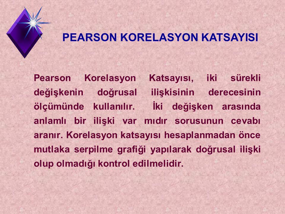 Pearson Korelasyon Katsayısı, iki sürekli değişkenin doğrusal ilişkisinin derecesinin ölçümünde kullanılır. İki değişken arasında anlamlı bir ilişki v