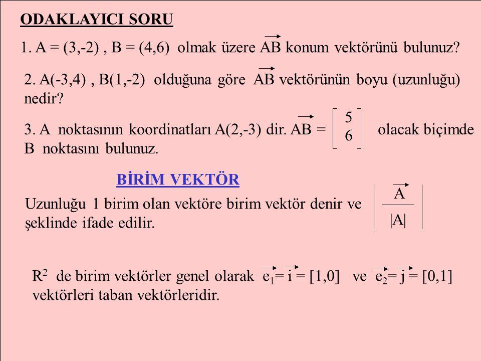 A=(x 1,y 1 ) vektörünün başlangıç noktası O(0,0) ve bitim noktası A=(x 1,y 1 ) olduğundan|OA|'ya A vektörünün uzunluğu(Modülü) denir. |A|=|OA|=  (x 1