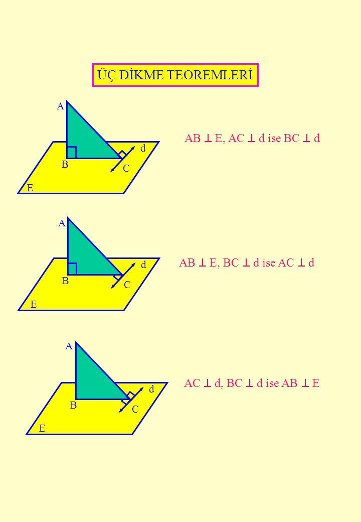 A B d C A B d C A B d C ÜÇ DİKME TEOREMLERİ AB  E, AC  d ise BC  d AB  E, BC  d ise AC  d AC  d, BC  d ise AB  E E E E