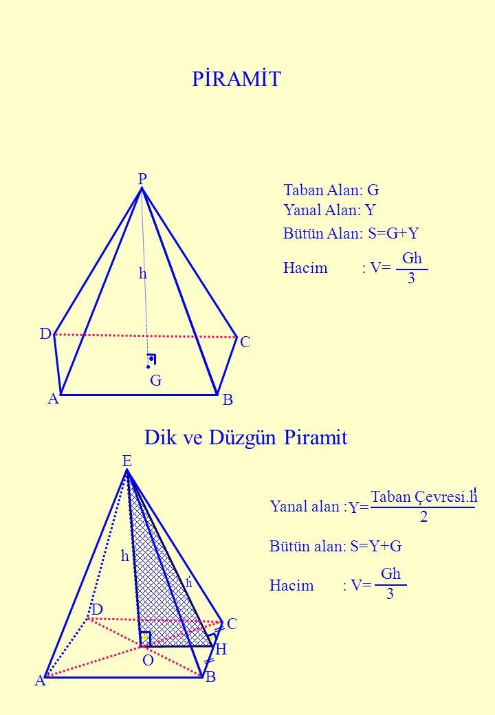 h A B H C E h D O A B C P h D G PİRAMİT Taban Alan: G Yanal Alan: Y Bütün Alan: S=G+Y Hacim : V= Gh 3 Dik ve Düzgün Piramit Yanal alan : Bütün alan: S
