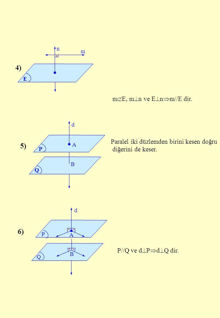 E n m P Q d A B P Q d A B 4) 5) 6) m  E, m  n ve E  n  m//E dir. P//Q ve d  P  d  Q dir. Paralel iki düzlemden birini kesen doğru diğerini de k