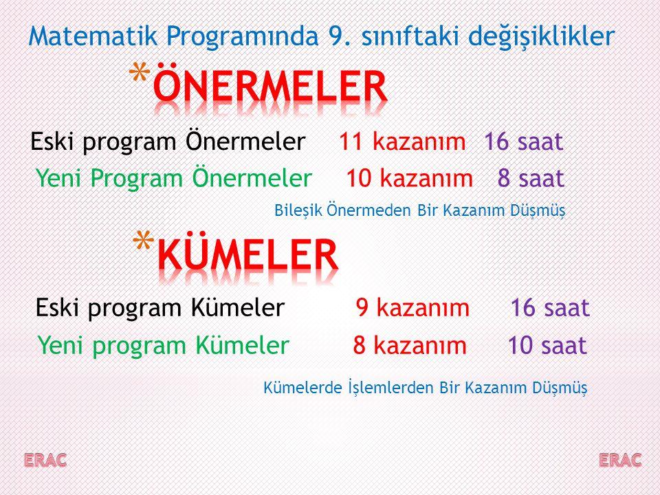 Matematik Programınd  a 9.sınıftaki değişiklik  ler Eski Program kart.
