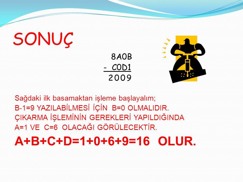 SONUÇ 8A0B - C0D1 2009 Sağdaki ilk basamaktan işleme başlayalım; B-1=9 YAZILABİLMESİ İÇİN B=0 OLMALIDIR. ÇIKARMA İŞLEMİNİN GEREKLERİ YAPILDIĞINDA A=1