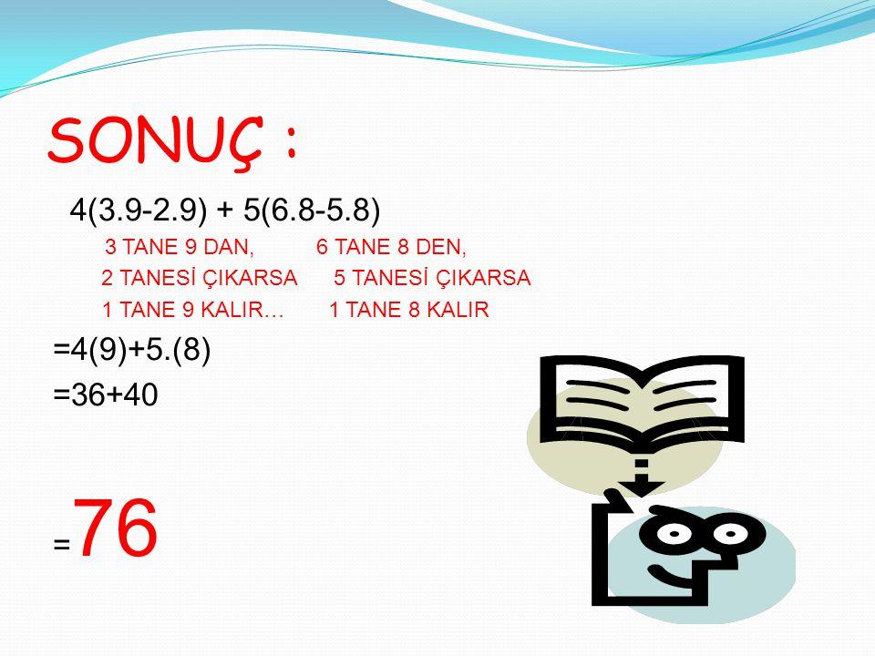 SONUÇ : 4(3.9-2.9) + 5(6.8-5.8) 3 TANE 9 DAN, 6 TANE 8 DEN, 2 TANESİ ÇIKARSA 5 TANESİ ÇIKARSA 1 TANE 9 KALIR… 1 TANE 8 KALIR =4(9)+5.(8) =36+40 = 76