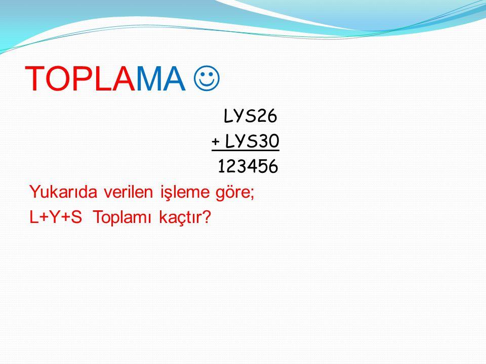 TOPLAMA LYS26 + LYS30 123456 Yukarıda verilen işleme göre; L+Y+S Toplamı kaçtır?