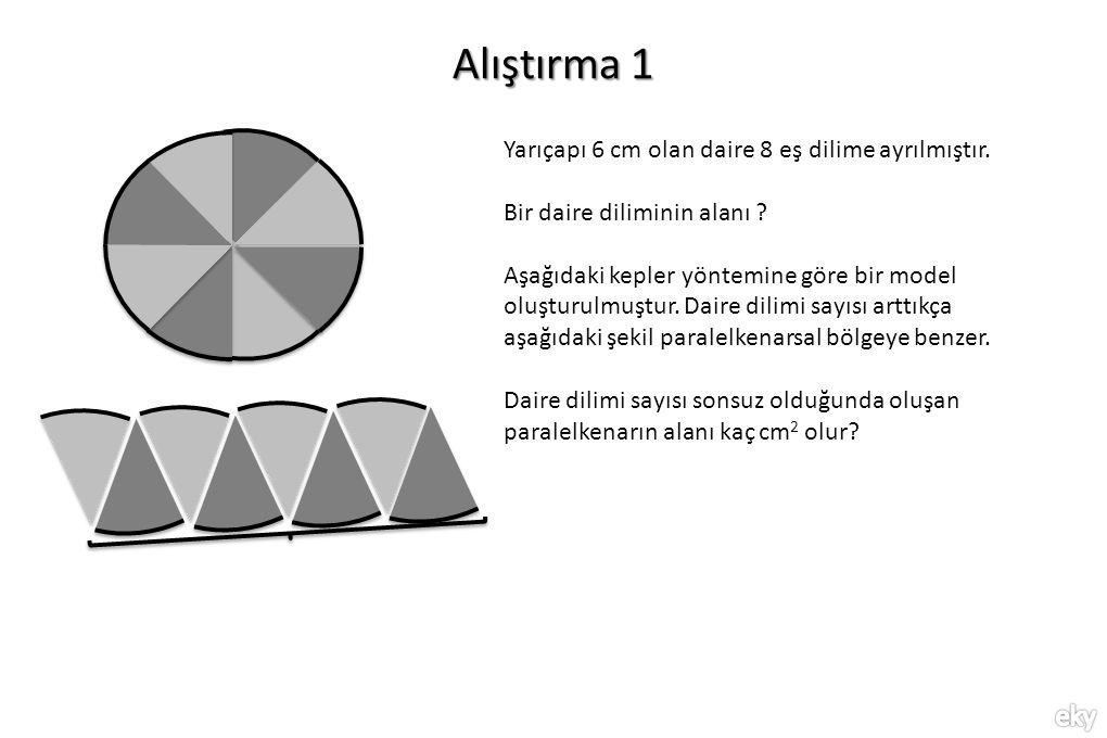 Alıştırma 1 Yarıçapı 6 cm olan daire 8 eş dilime ayrılmıştır. Bir daire diliminin alanı ? Aşağıdaki kepler yöntemine göre bir model oluşturulmuştur. D