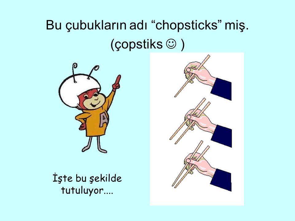 """Bu çubukların adı """"chopsticks"""" miş. (çopstiks ) İşte bu şekilde tutuluyor...."""