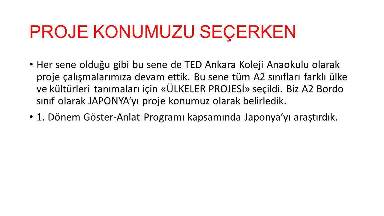 PROJE KONUMUZU SEÇERKEN Her sene olduğu gibi bu sene de TED Ankara Koleji Anaokulu olarak proje çalışmalarımıza devam ettik.