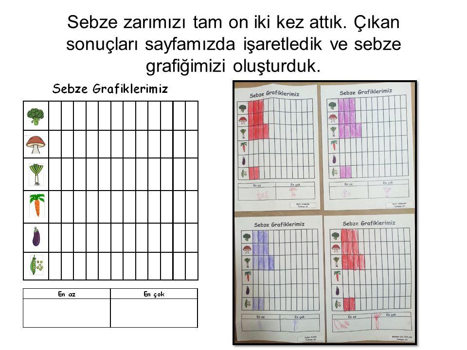 Sebze zarımızı tam on iki kez attık. Çıkan sonuçları sayfamızda işaretledik ve sebze grafiğimizi oluşturduk.