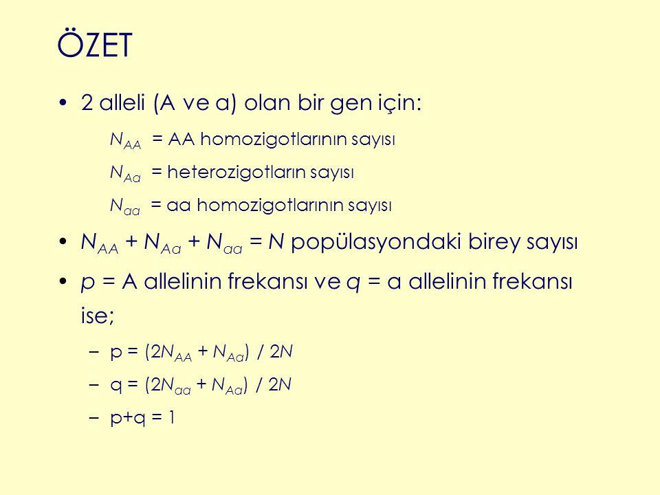 2 alleli (A ve a) olan bir gen için: N AA = AA homozigotlarının sayısı N Aa = heterozigotların sayısı N aa = aa homozigotlarının sayısı N AA + N Aa +